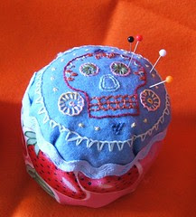 Blue recycle pincushion