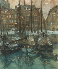 channel scenery in the moonlight, presumably christianshavn in copenhagen by gudmund herman peter hentze