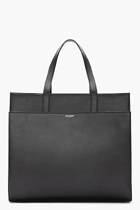 Saint Laurent Black Leather Flat Tote
