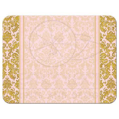 Blush Pink Gold Damask Wedding RSVP Reply Card