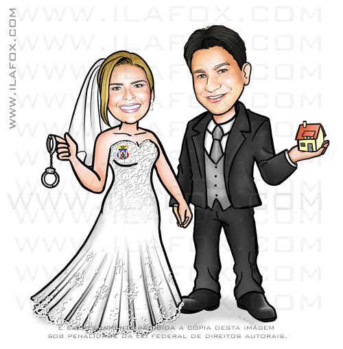 caricatura casal, caricatura noivos, caricatura sem exageros, caricatura para casamento, by ila fox