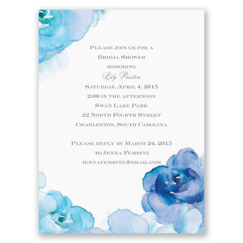 Watercolor Roses Petite Bridal Shower Invitation