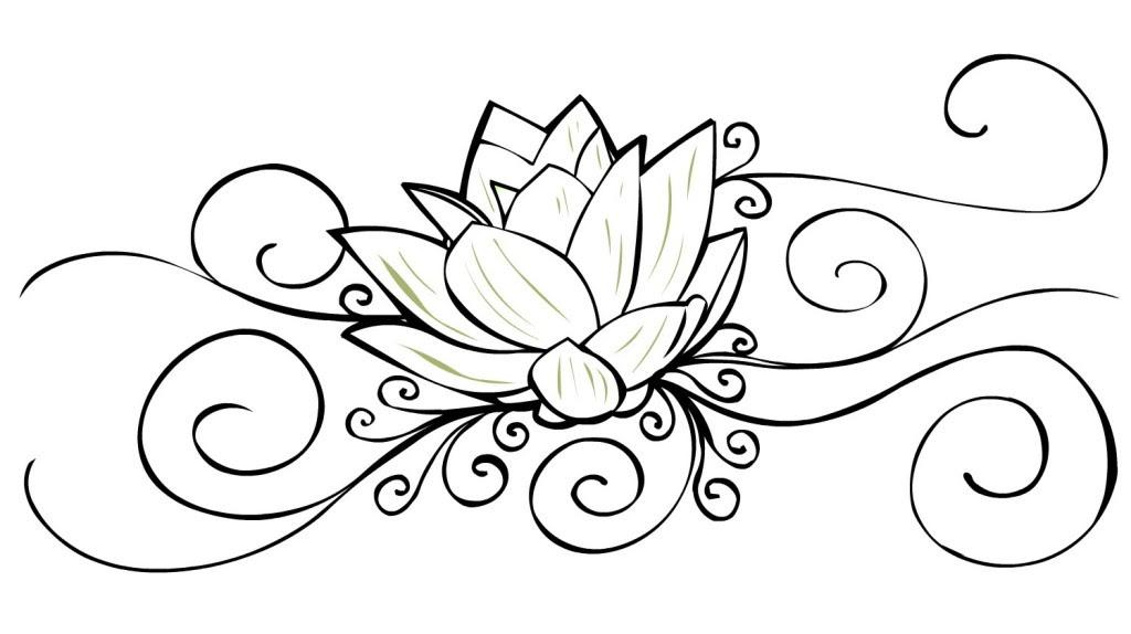 Crazy Outline Lotus Flower Tattoo Design