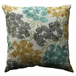 Pillow Perfect 513072 Luxury Floral Pool 18-inch Throw Pillow - Aqua-Grey-Yellow