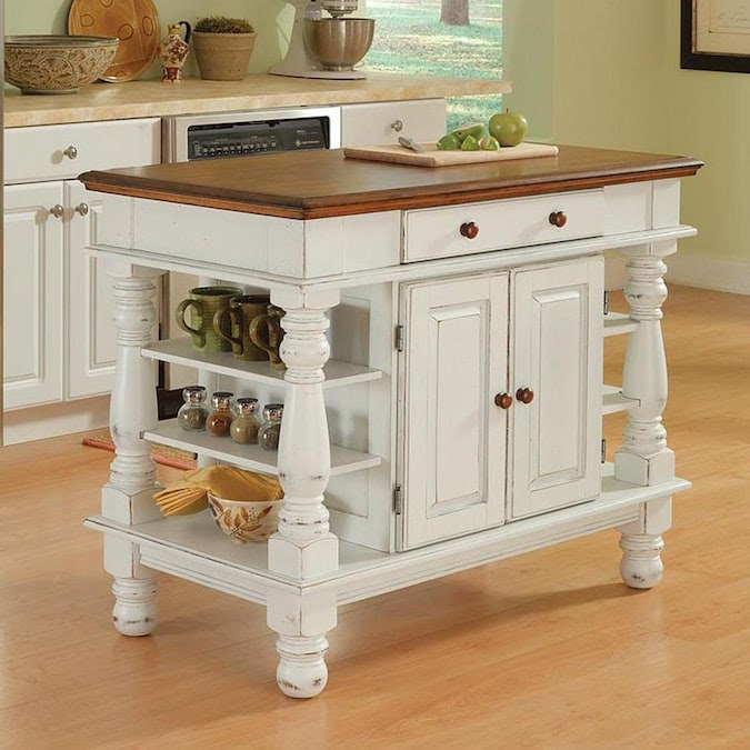 Home Styles White Wood Base With Wood Top Kitchen Island 24 In X 42 In X 36 In In The Kitchen Islands Carts Department At Lowes Com