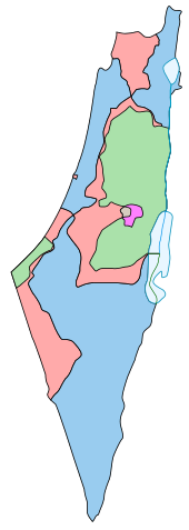 Map comparing the borders of the 1947 partition plan and the armistice of 1949.