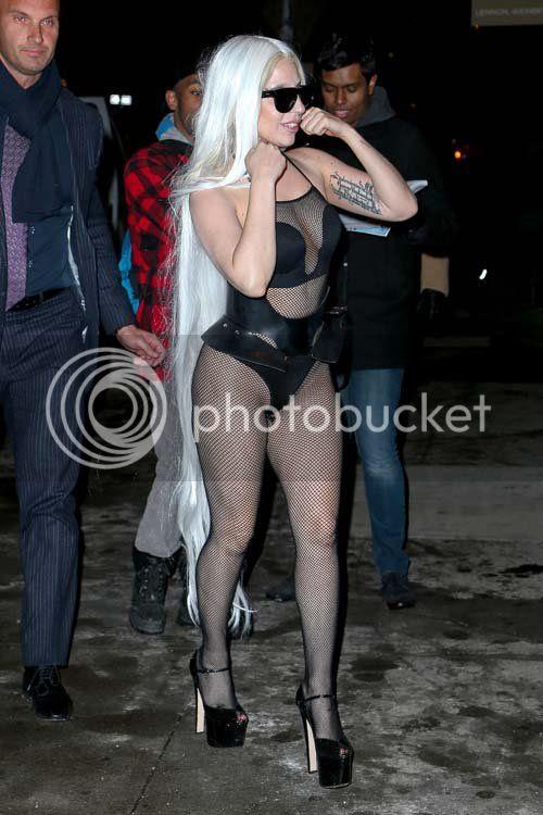 Lady Gaga dons mesh & leotard in nippy NYC...