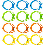 Dive Ring – 12 Pack Fish Shaped Diving Toys, Underwater Swimming Pool Rings For Kids, Multicolored, 7.3 X 5.7 Inches