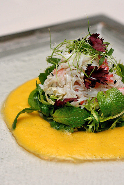 Jumbo Crab Salad with Sweet Pea & Wild Rucola Sprouts and Cantaloupe Sauce