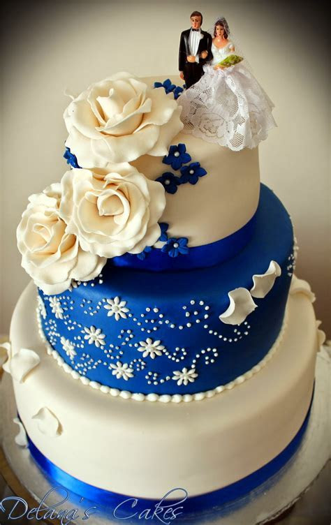 Delana's Cakes: Royal Blue and White Wedding Cake
