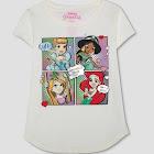 petiteGirls' Disney Princess Comic Graphic Short Sleeve T-Shirt - Ivory
