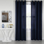 Habitat Princess Semi-Sheer Grommet Top Curtain Panel Navy
