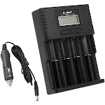 soshine universal intelligent battery charger 4 slots lcd display for li-ion lifepo4 ni-mh ni-cd battery w/ car charger