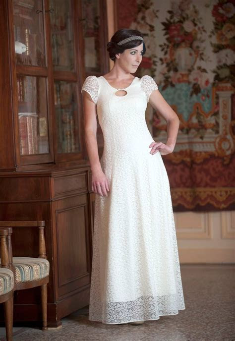 Long white lace wedding dress with back lace up and short