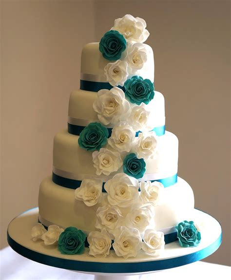 teal  white roses wedding cake hannah charlesworth