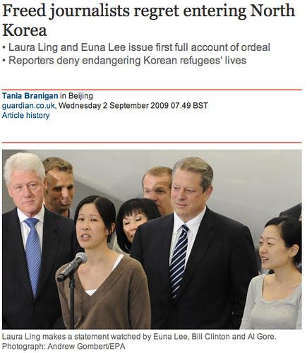 guardian.co.uk: Freed journalists regret entering North Korea