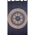 "Mandala Tab Top Curtain Drape Panel Cotton 50"" x 90"" Navy Blue"