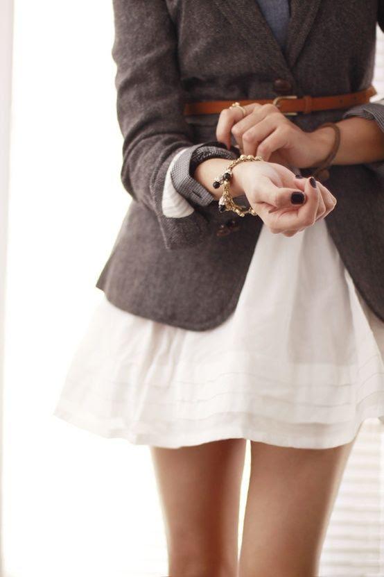 woolen blazer atop a white dress + a belt