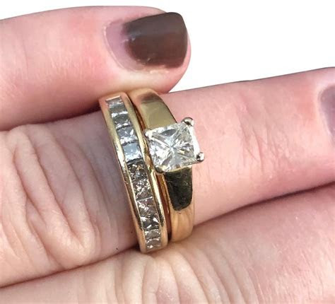 Bailey Banks Biddle Yellow Gold Engagement and Band Ring