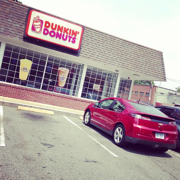 I brought the @chevyvolt to @dunkindonuts.