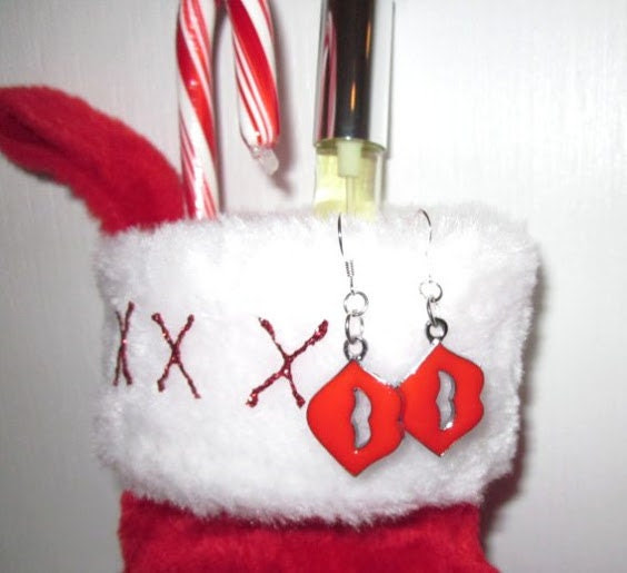VIXEN xxx Perfume Holiday Gift Set, Sexy Merlot, Pomegranate, Cherry, and Spice Fragrance, Red Lips Earrings, Stocking Christmas Gift Set