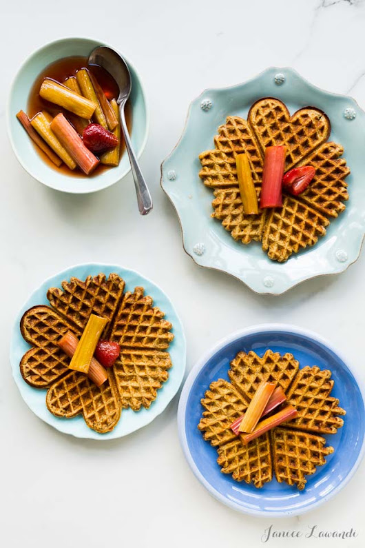 Multigrain waffles with tea-roasted rhubarb | Kitchen Heals Soul
