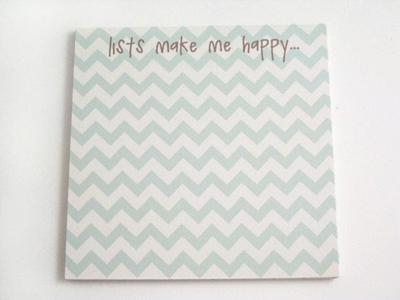 Chevron Square Magnetic Notepad - Lists Make Me Happy