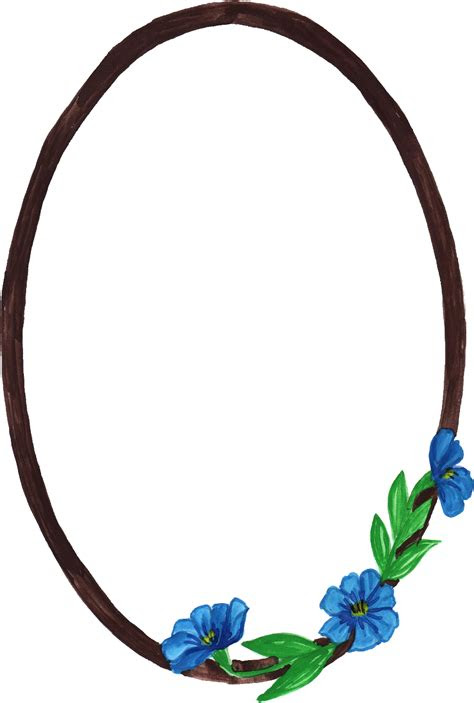 watercolor oval frame  flowers png transparent