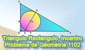 Problema de Geometría 1102 (English ESL): Triangulo Rectángulo, Incentro, Circunferencia Inscrita, Relaciones Métricas.