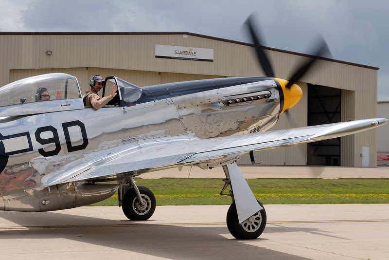 North American P-51D Mustang leaving on a ride