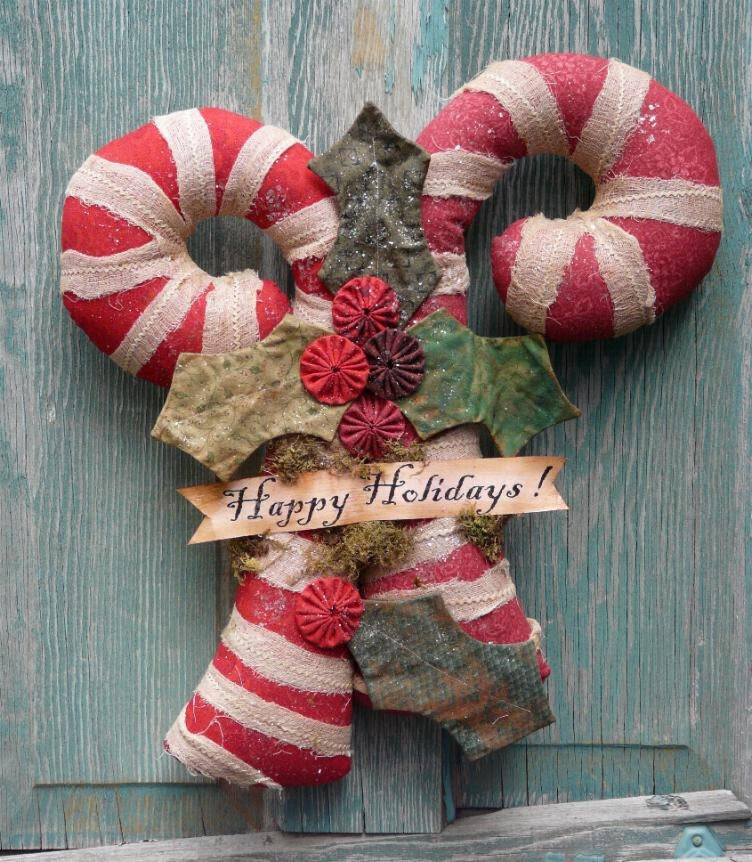 Big Candy Canes E Pattern - fabric primitive holly new pdf Christmas Old Grubby banner