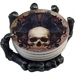 DWK 14cm Helping Hand Beautiful Gothic Skull Beverage Coasters with Creepy Skeleton Hand Holder for Halloween Home Kitchen Dining and Bar Decor