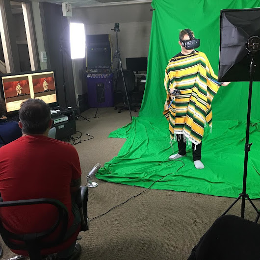 FTF team works the green screen to test Mixed Reality Twitch demo of our new game Hopalong. Stay tuned for streaming and release dates.