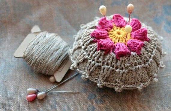 Linen  pincushion - crochet motif -- fuchsia flower
