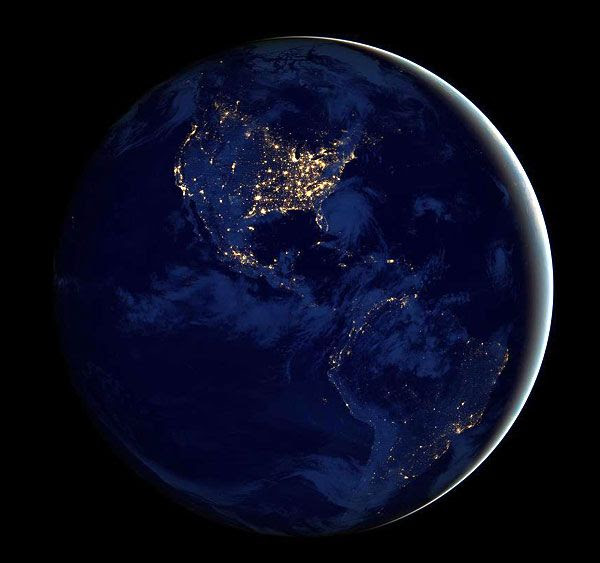 A night view of the Western Hemisphere of Earth as seen by the Suomi National Polar-orbiting Partnership (NPP) satellite, taken around December 5, 2012.