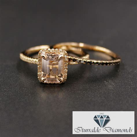 Emerald Cut Morganite Engagement Ring Diamond Pave Halo