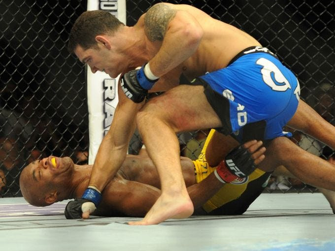 Chris Weidman celebrates after defeating Anderson Silva in their middleweight chamionship bout at the MGM Grand Garden Arena.