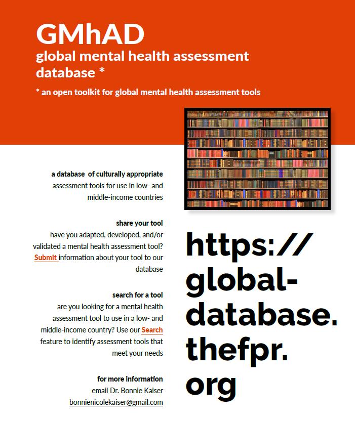 Global Mental health Assessment Database (GMhAD) launch ...