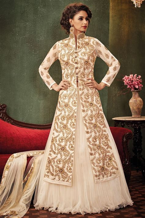 #Cream & #gold embroidered raw #silk & net #glamorous #