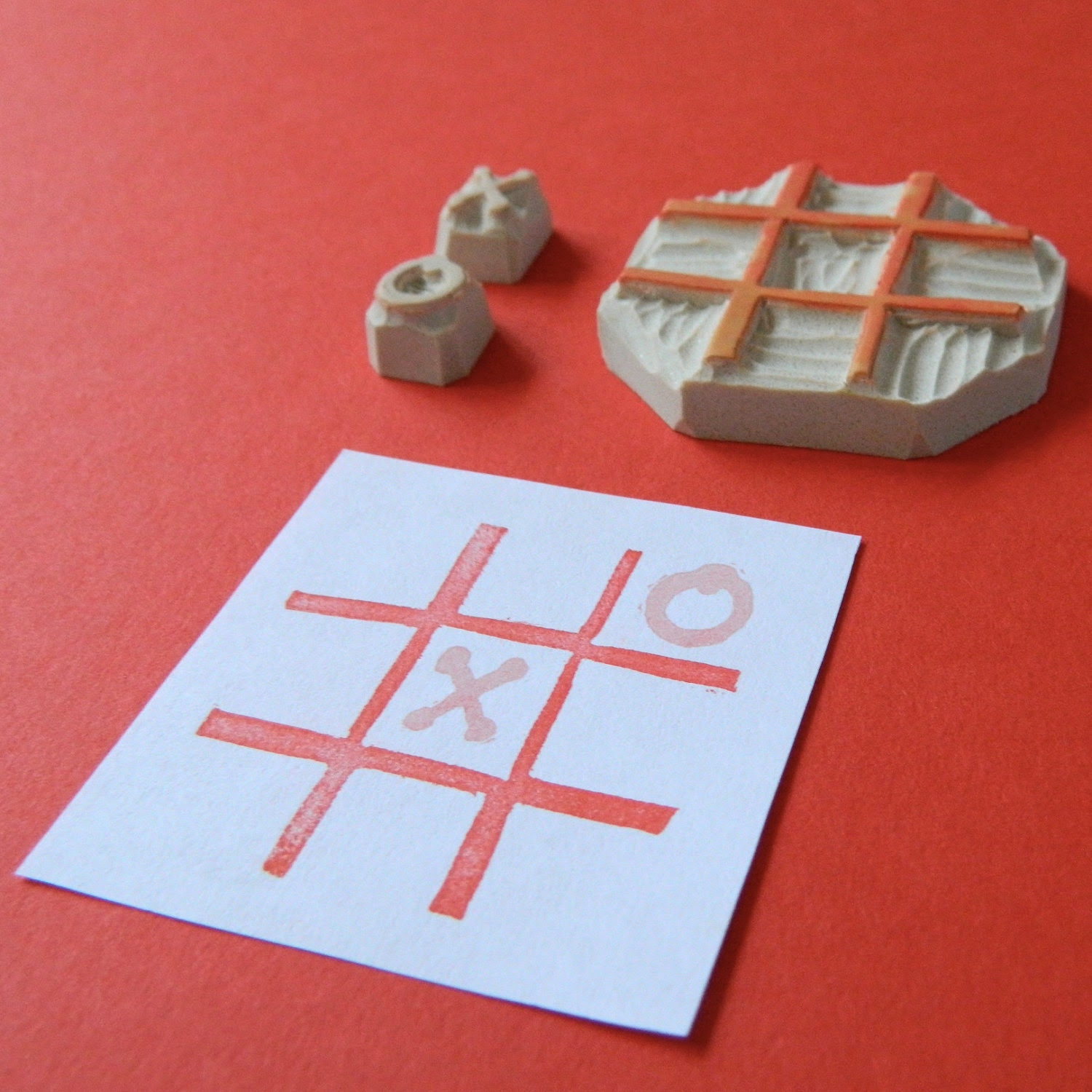Tic Tac Toe X and O - Hand Carved Stamp Set