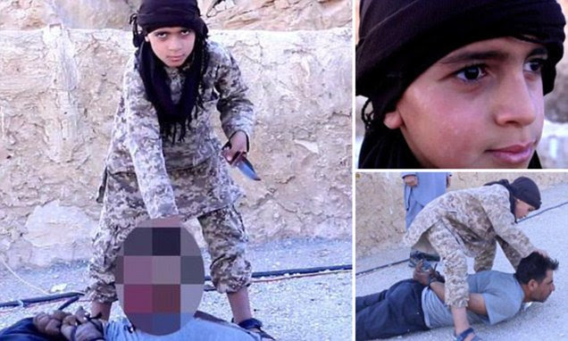 ISIS jihadis film a CHILD carrying out a beheading for the first time