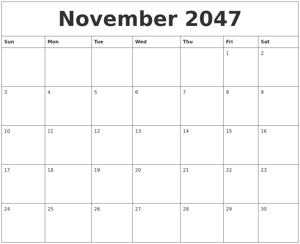 november 2047 online printable calendar