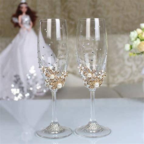 1 set Personalized Wedding Set Champagne Glasses Diamond