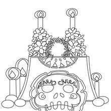 Dibujos Para Colorear Altar Con Calavera Del Dia De Los Muertos Es