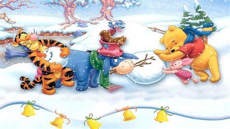winnie  pooh making snowman merry christmas hd