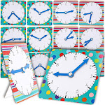 Juvale 12-Pack Learn to Tell Time Teaching Clock for Kids and Students, 2 Designs, 4.5 Inches