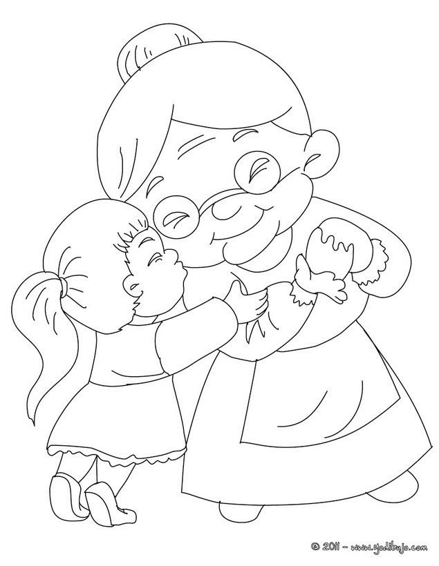 Dibujos Para Colorear Abuela Con Su Nieta Eshellokidscom