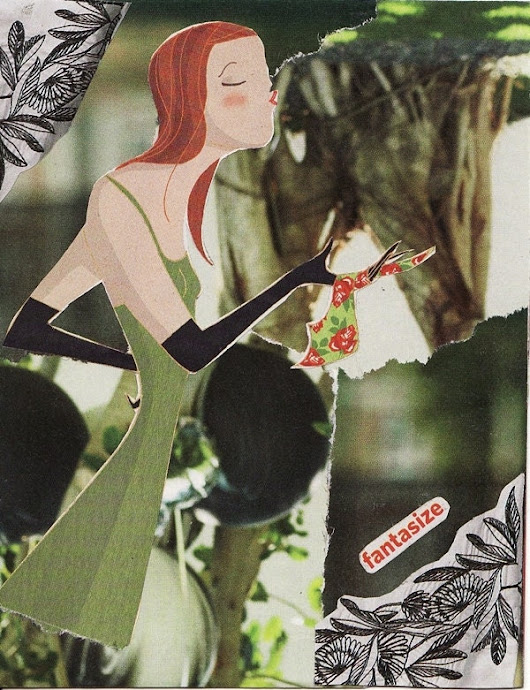 paper collage art for framing or notecard entitled FANTASIZE - an original handmade from recycled paper