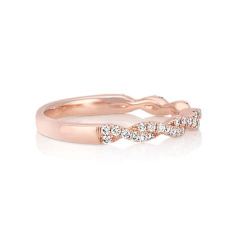 Infinity Twist Pave Set Diamond Wedding Band in 14k Rose