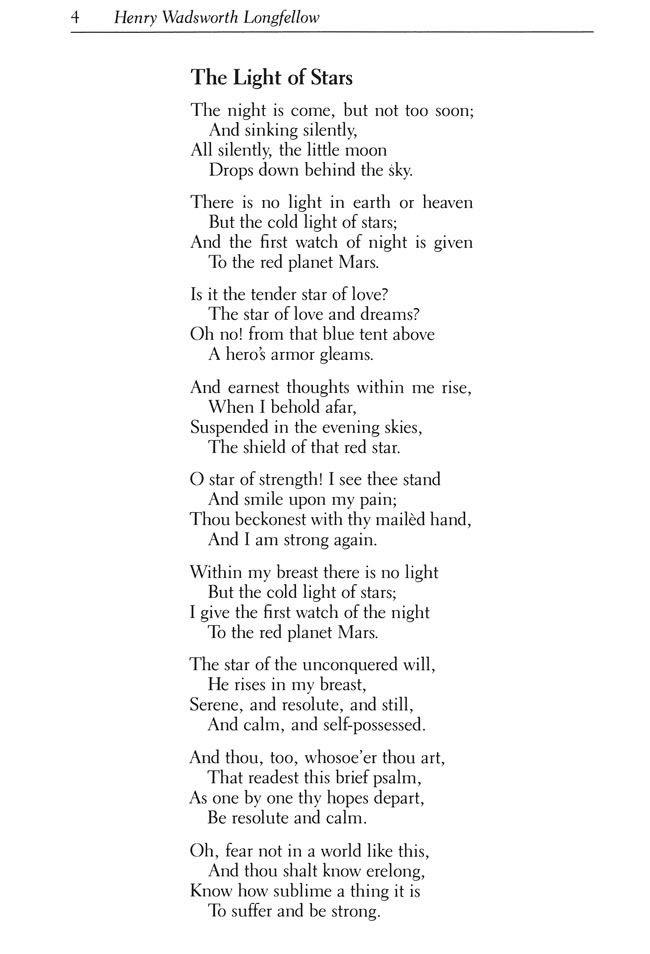 Longfellow Poem, The Light of Stars